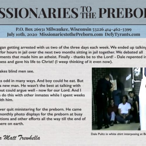 Missionaries to the Preborn July 2020 Mailing - MissionariesToThePreborn.com
